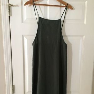 Dark Green/Olive Linen Midi Dress Forever 21 Sz S